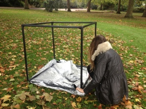 Waterproof ground sheet to save wet bottoms when inside the camera obscura